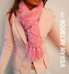 Warm detailed vegan scarf scarf - Sakura - VAB