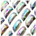 20-x-Shiny-Rainbow-Ringen-Partijhandel-Roestvrij-Staal-WHOLESALE