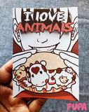 Vegan Sticker - I love animals - 10,5 cm x 7,4 cm_