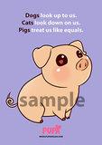 GRATIS - ansichtkaart - Pigs treat us like equals_